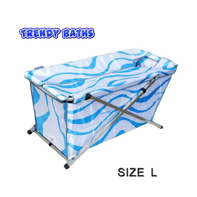 อ่างอาบน้ำทรงสี่เหลี่ยมพับได้ size L ลายกราฟฟิก ขาว-ฟ้า