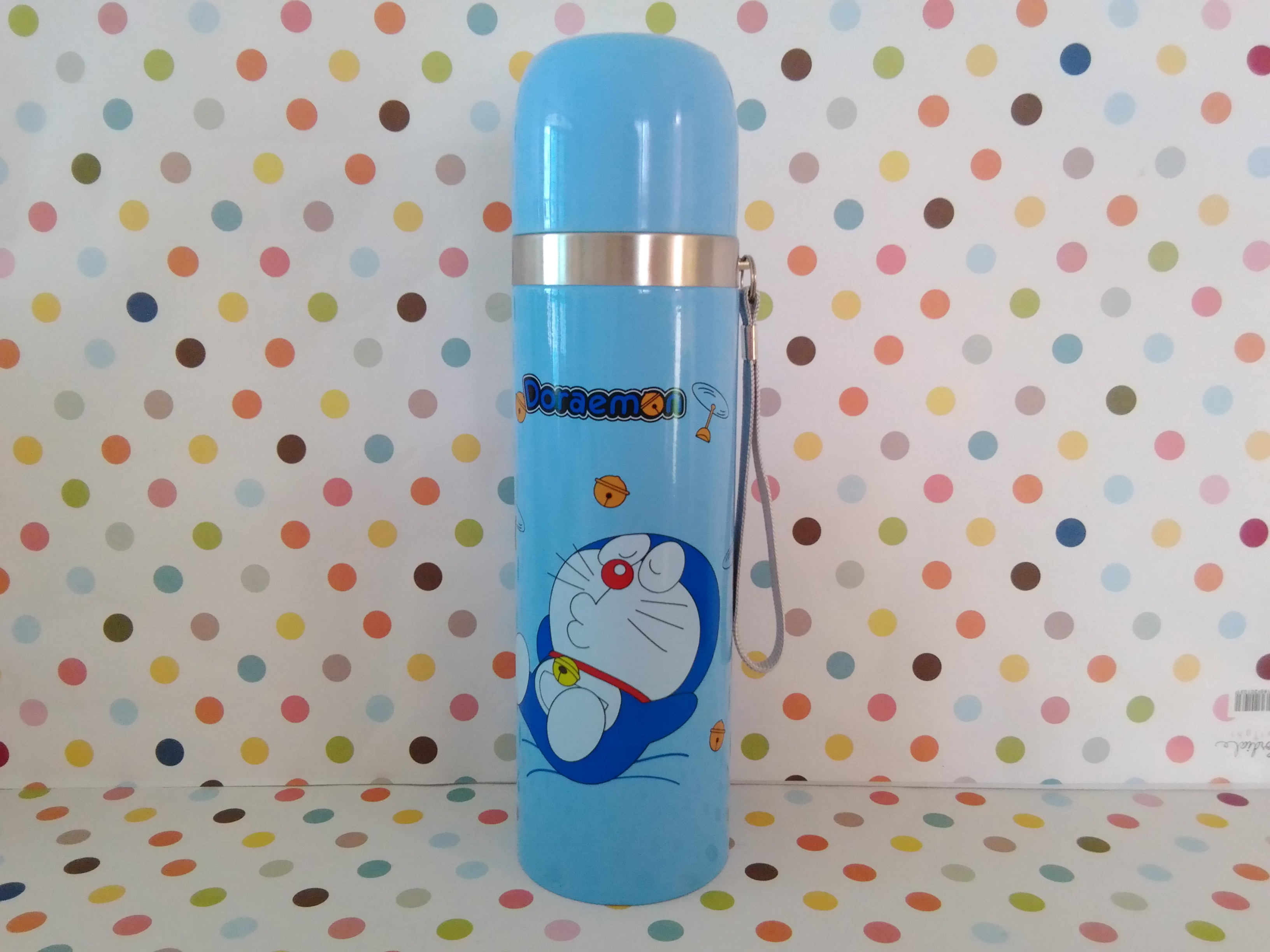 กระติกน้ำสแตนเลสสูญญากาศ โดราเอมอน Doraemon ขนาดสูง 24 ซม. สผก 7 ซม. ลายโดราเอมอน สีฟ้า