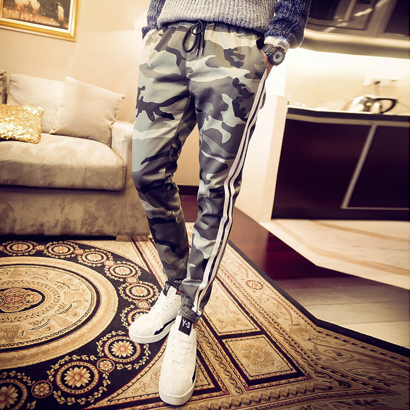 Pre Order กางเกงลายพรางแนวเกาหลี แต่งแถบข้าง ขาจั้ม มีเชือกผูกเอว มี2สี
