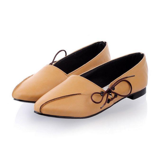 Pre Order - รองเท้าแฟชั่น ลำลอง หนัง PU ส้นแบน สี : สีน้ำตาล / สีดำ / สีเบจ