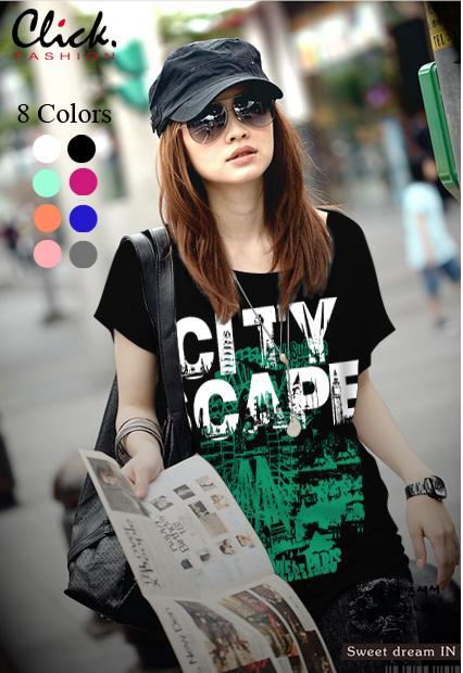 เสื้อยืดแฟชั่น ผ้าเนื้อนุ่ม ลาย City Scape สีดำ