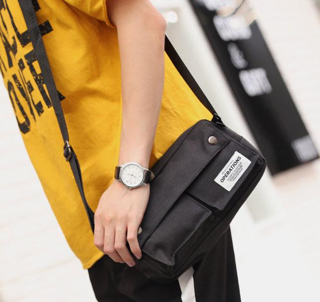 Pre-order กระเป๋าผ้าสะพายข้าง สะพายลำลองกีฬากลางแจ้ง ใส่ ipad 8 นิ้วผู้ชายแฟชั่นเกาหลี รหัส Man-3012 สีดำ