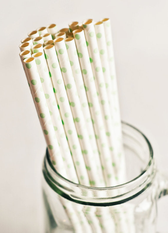 Paper Straws in White & Green Polka Dots