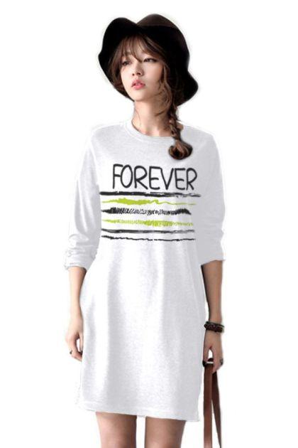 เสื้อยืดตัวยาว /แซกสั้น ผ้านุ่ม แขนยาว ลาย Forever (สีขาว)