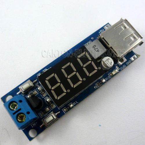 DC-to-DC Voltage Step Down (from 4.5V - 40V to 5V) + LED Voltmeter