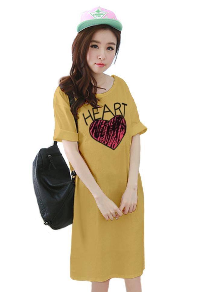 เสื้อยืดแฟชั่นตัวยาว ทรงกระบอก ผ้านุ่ม ลาย Heart สีเหลือง