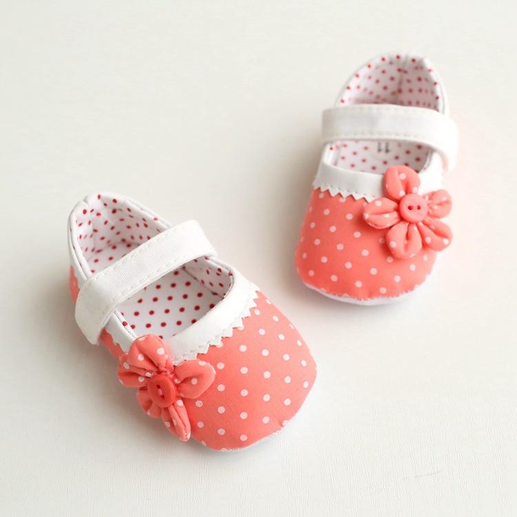 รองเท้าเด็กอ่อน 0-12เดือน รองเท้าเด็กชาย เด็กหญิง สีชมพูโอรสแต่งดอกไม้บาน