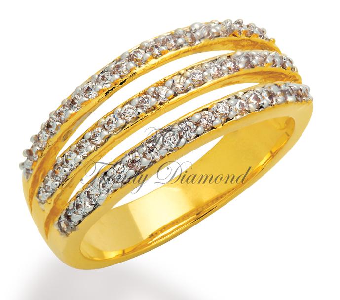แหวนเพชรCZ เพชรสวิส แหวน Skyline สีทอง