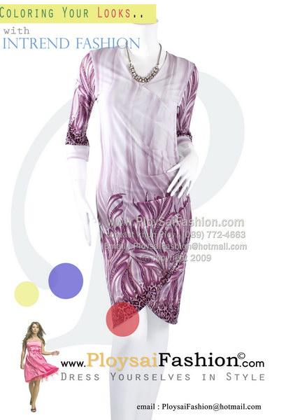 hd1427 - ชุดเดรส ผ้าเกาหลีพิมพ์ลายเชิงโทนม่วงอ่อน ช่วงชายดีไซน์ป้าย สวยสุดๆเลยค่ะ