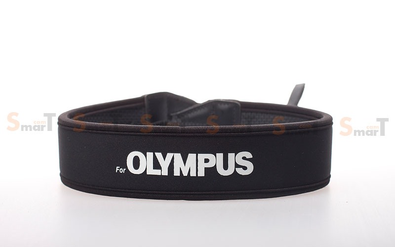 สายคล้องกล้อง Olympus White on Black Neck Strap Neoprene