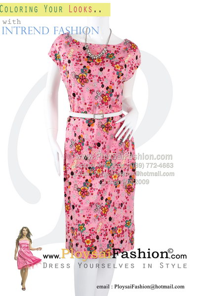 b2589 - ชุดเดรสแขนล้ำกระโปรงทรงตรง(สาวอวบนิดๆใส่ได้ค่ะ) ผ้าเกาหลีสีชมพูพิมพ์ลายดอก อัดเมทัลลิคเม็ดกลมเล็กๆสีชมพู ซับในทั้งตัว สวยเรียบร้อยสุดๆเลยค่ะ