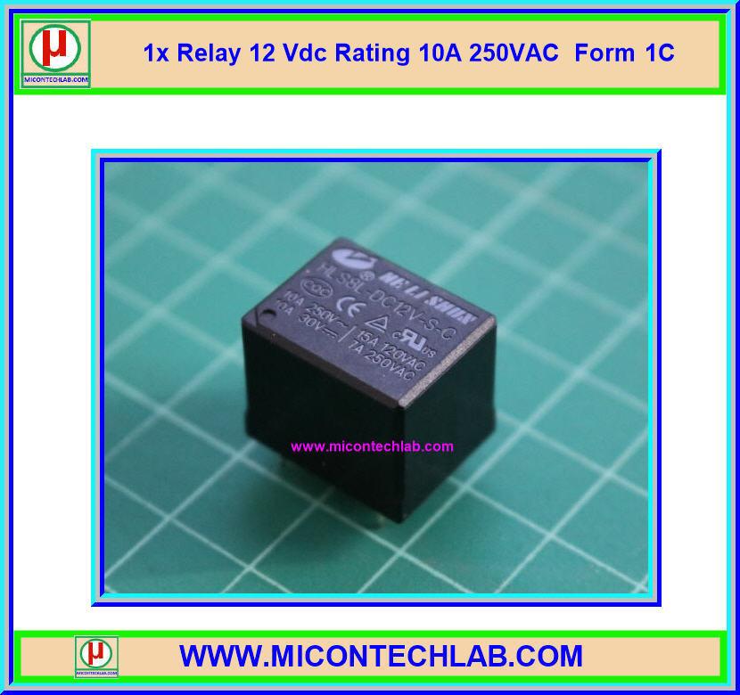 1x Relay 12 Vdc Rating 10A 250VAC Form 1C HLS8L-DC12V