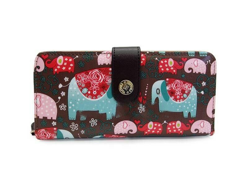 กระเป๋าสตางค์ Chalita wu สีน้ำตาล ลายช้าง