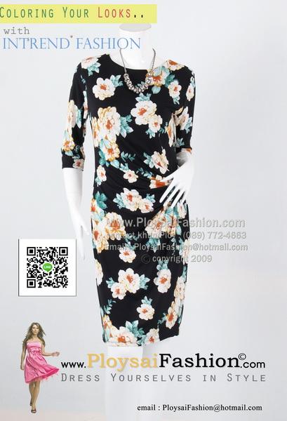 hd1864 - ชุดทำงานแขนสามส่วน ผ้าเกาหลีสีดำพิมพ์ลายดอก จับจีบช่วงเอวด้านข้าง ซับในทั้งตัว