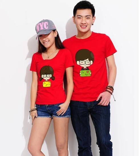 พร้อมส่ง-เสื้อคู่รักแฟชั่น ผ้าฝ้าย สีแดง น่ารักๆ**ราคาขายเป็นคู่**