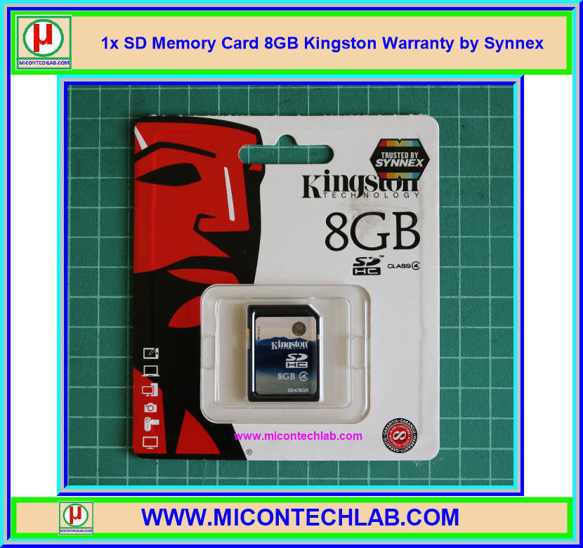 1x SD Memory Card 8GB Kingston Warranty by Synnex