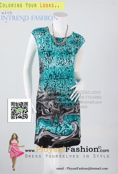 pd2625 - เดรสสั้นแขนล้ำ ผ้าเกาหลีพิมพ์ลายเสือโทนเขียว ซับในแยกชิ้น สวยน่ารักค่ะ
