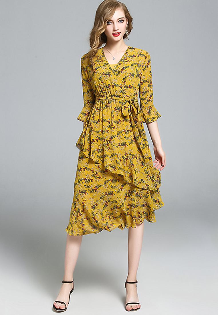 ชุดเดรส Floral V-Collar Stitching