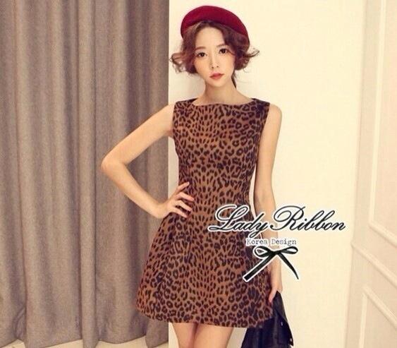 Lady Ribbon Leopard Print Mini Dress มินิเดรสแขนกุด พิมพ์ลายเสือดาว